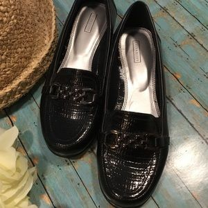 Laura Scott Black Patent Leather Loafers